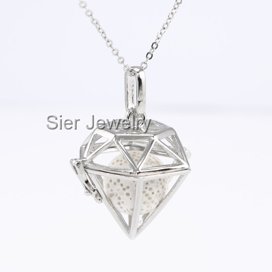 Diamond Shaped Essential Oil Diffuser Necklace Locket With Lava Stone