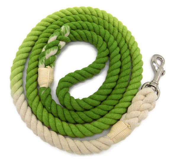 Fern Green 5ft Ombre Cotton Rope Dog Leash
