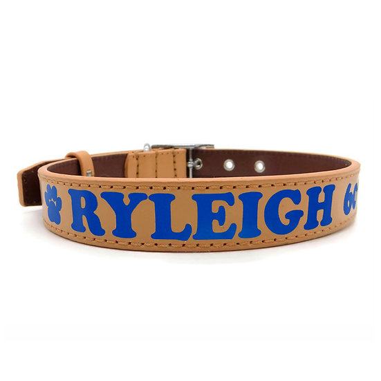 Matte Tan Personalized Classic Leather Dog Collar