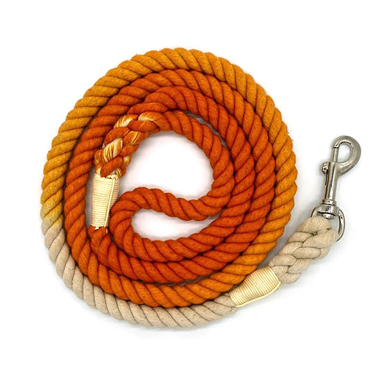 Orange 5ft Ombre Cotton Rope Dog Leash