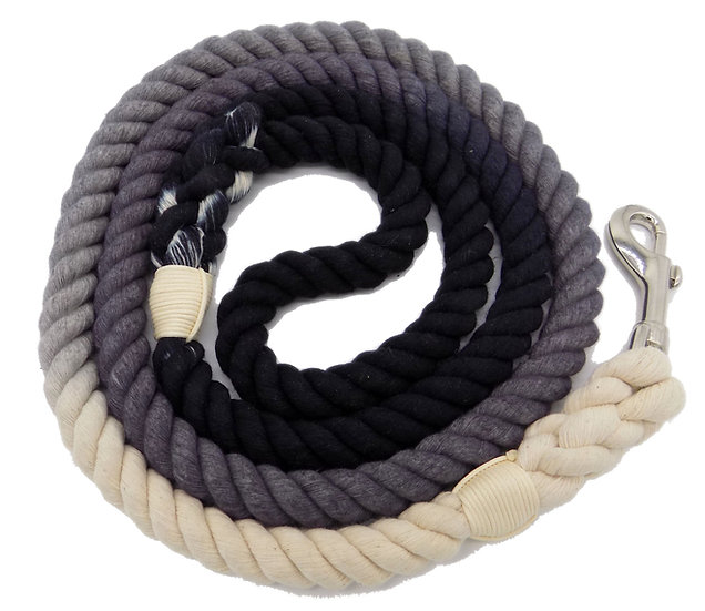 Black Grey 5ft Ombre Cotton Rope Dog Leash