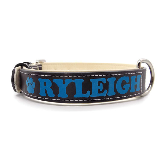 Matte Black Personalized Padded Leather Dog Collar