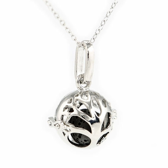 Small Tree of Life Essential Oil Diffuser Necklace Locket With Lava Stone