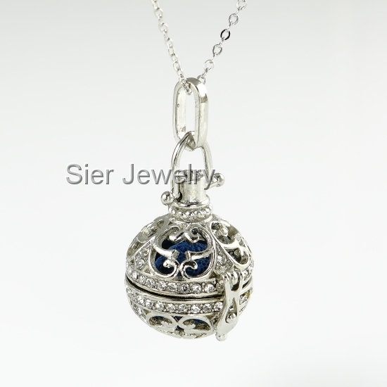 Rhinestone Essential Oil Diffuser Necklace Locket With Lava Stone