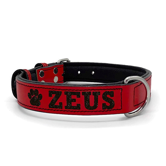 Glitter Red Personalized Padded Leather Dog Collar