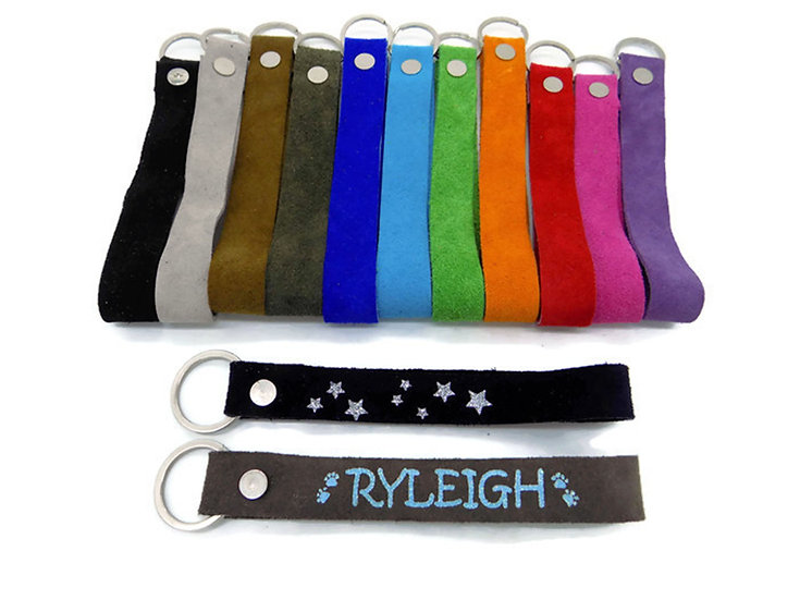 Glitter Personalized Suede Keychain Wristlet With Glitter Writting