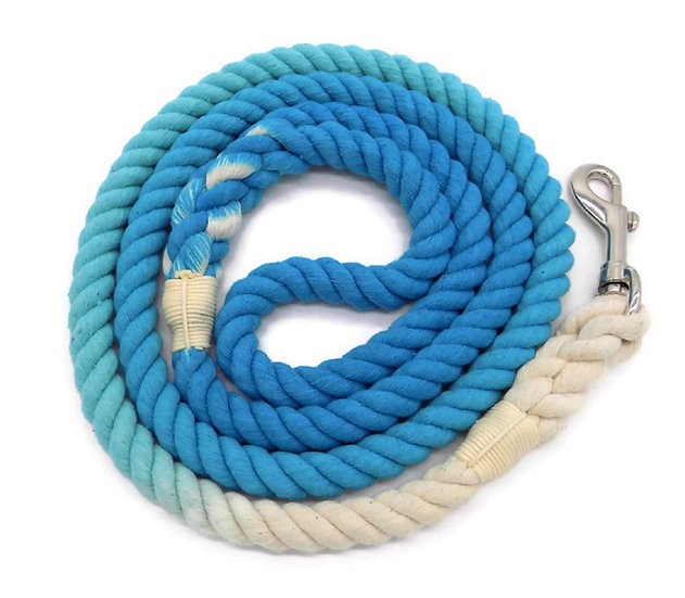 Turquoise 5ft Ombre Cotton Rope Dog Leash