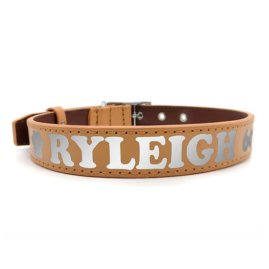 Reflective Tan Personalized Classic Leather Dog Collar