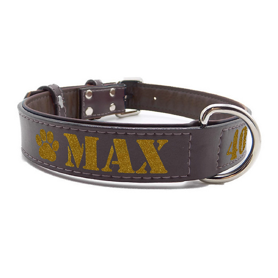 Glitter Brown Personalized Padded Leather Dog Collar