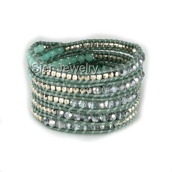 "Five Layer Blue Leather Wrap Bracelet With Natural Stone Beads 34""-36"""