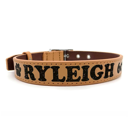 Glitter Tan Personalized Classic Leather Dog Collar