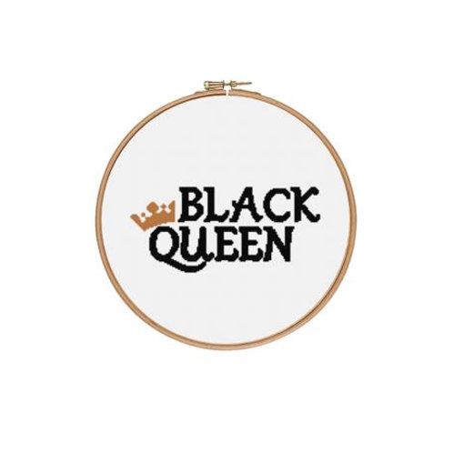 Black Queen (Gold Crown) Cross Stitch Kit