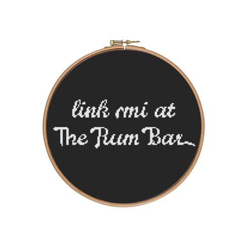 Link mi at The Rum Bar Cross Stitch Kit