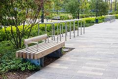 Macro photo of a modern wooden benchin