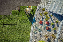 Aerial View Of Male Gardener Laying Roll