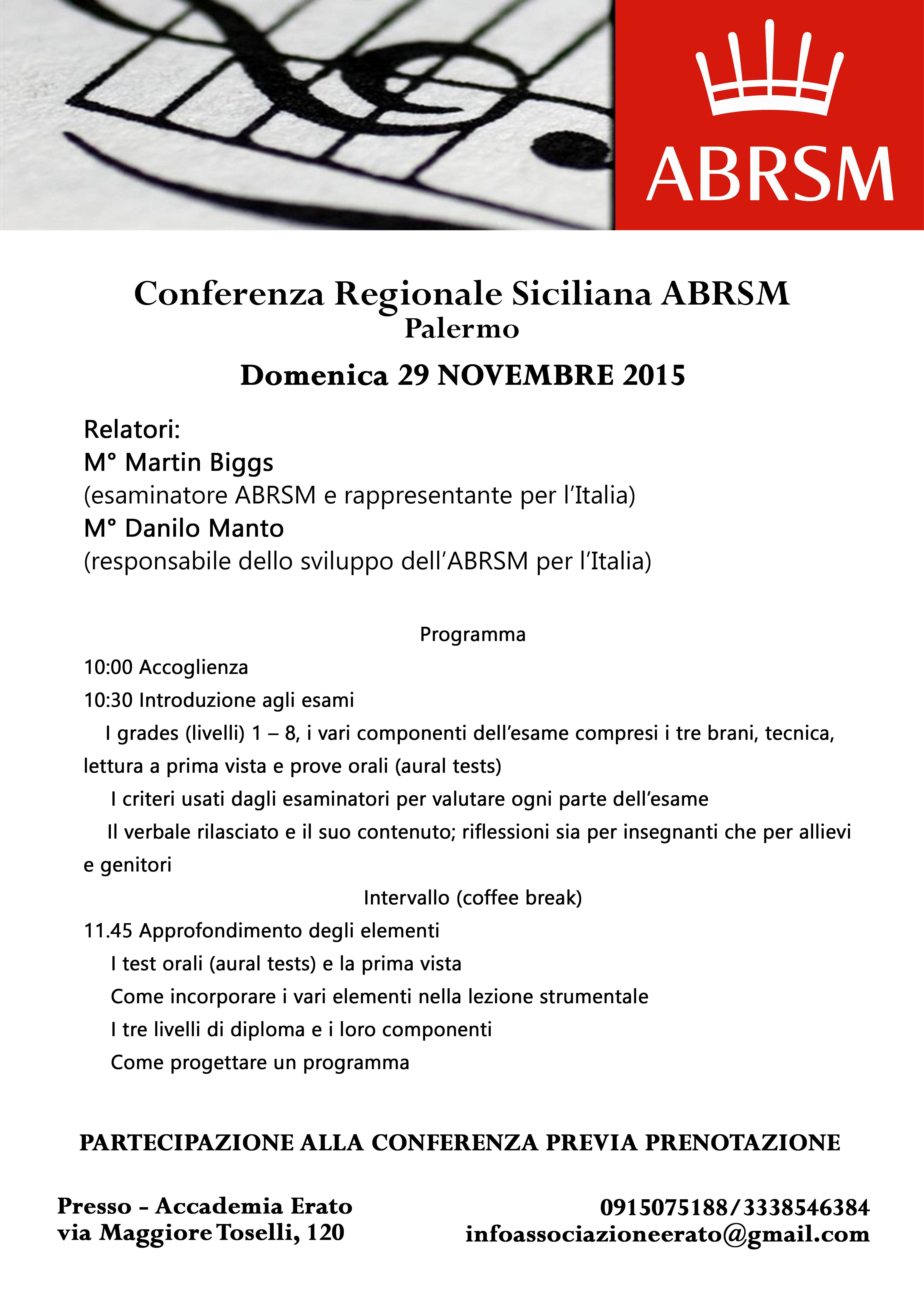 Conferenza  Siciliana ABRSM