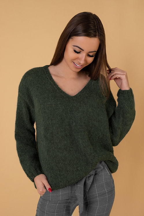 Megztinis moterims tamsiai žalias rankų darbo V forma šiltas stilingas naujiena megztas megzti gaminiai
