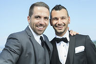 Portrait of a loving gay male couple on