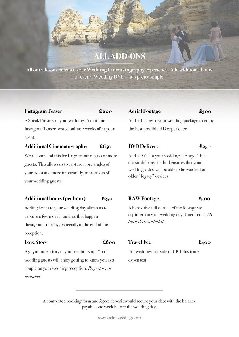 Andrei Weddings Pricing 2019 Brochurep3.