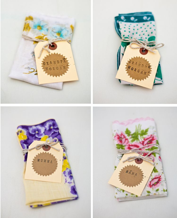 Handkerchiefs as wedding favours