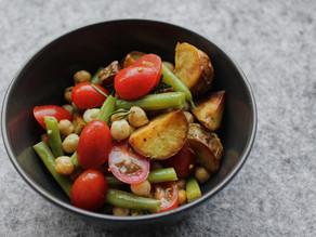 Cumin roast potato, chickpea and tomato salad