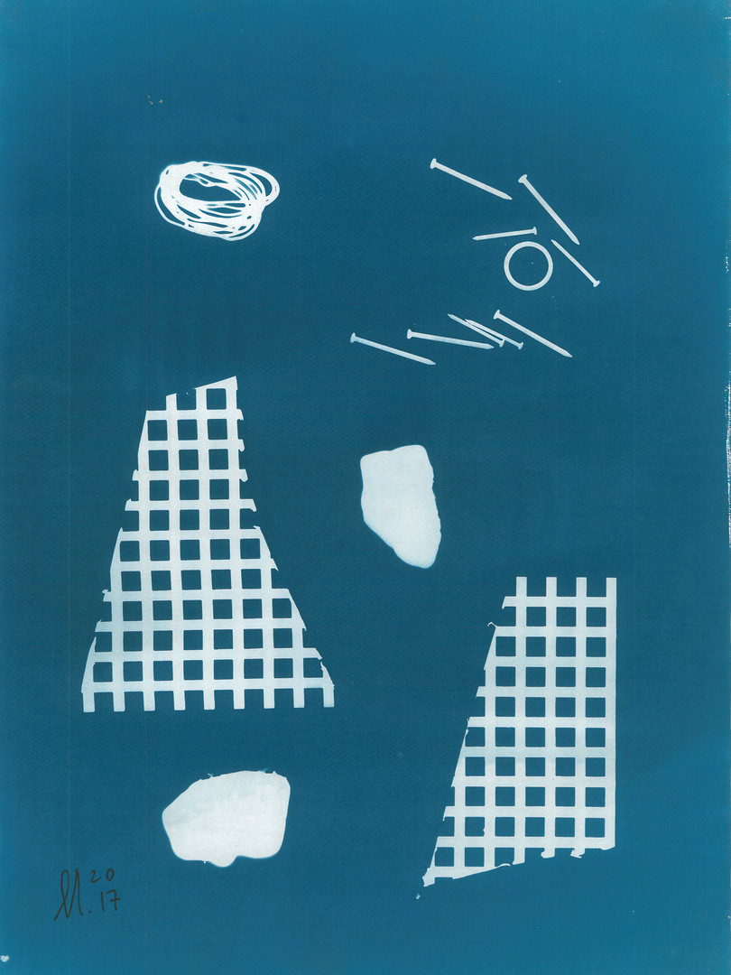 Recycled face - cyanotype