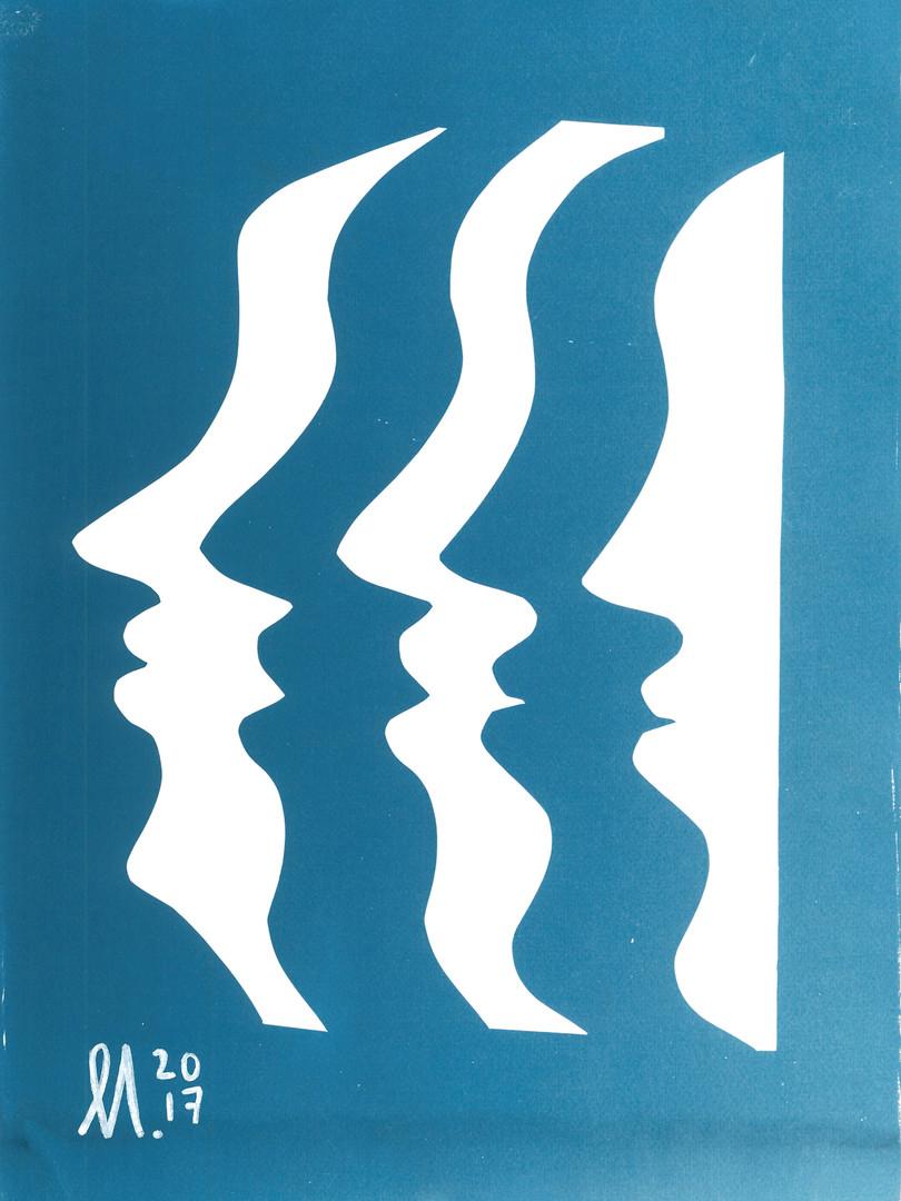 Visages - cyanotype