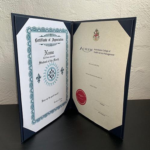 Navy Blue Luxury Certificate Folder- from $26 each