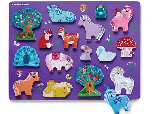 Wooden Puzzle: Unicorn Garden