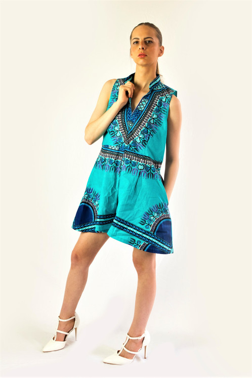 850c1fda9 Be Unique in this ankara African print short sleeve teal blue romper  playsuit. Featuring a loose casual fit detail. Style with statement  accessories for a ...
