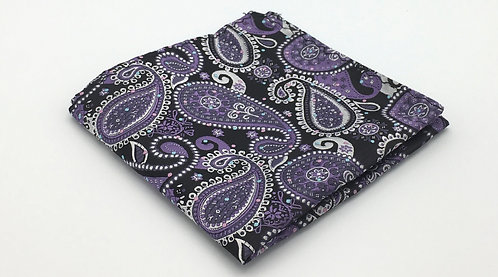 Purple, White and Black Woven Paisley