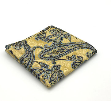 Blue, Antique Gold and Teal Woven Paisley