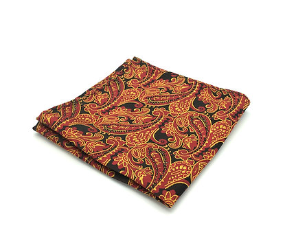 Wine, Red, Golden Yellow and Black Paisley
