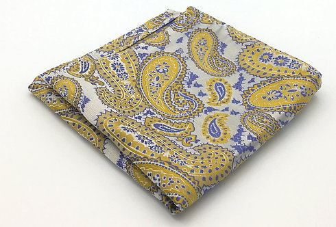 Steel Blue, Antique Gold and Silver Woven Paisley