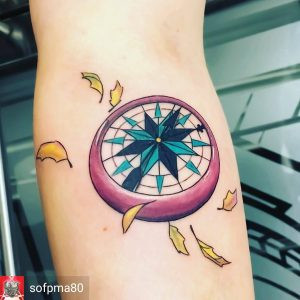 Colorful compass tattoo by Sof PMA at Paper Crane Studio