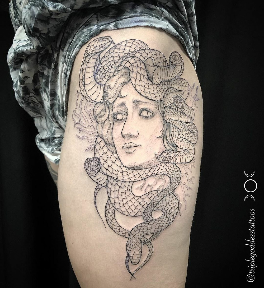 Large Medusa tattoo on client's thigh by Joy Shannon.