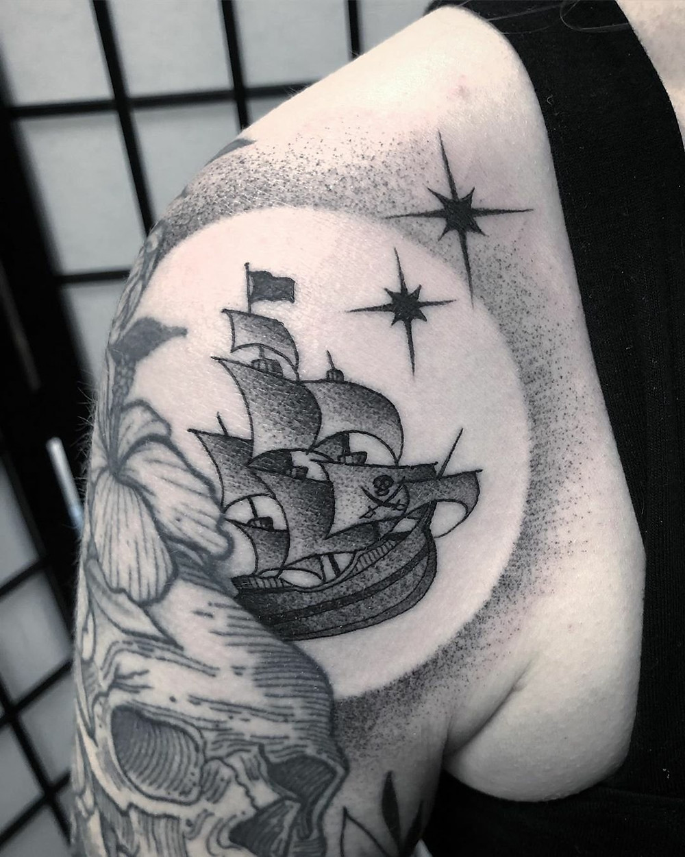 Peter Pan pirate ship tattoo, blackwork by Jade Quail of Paper Crane Studio.