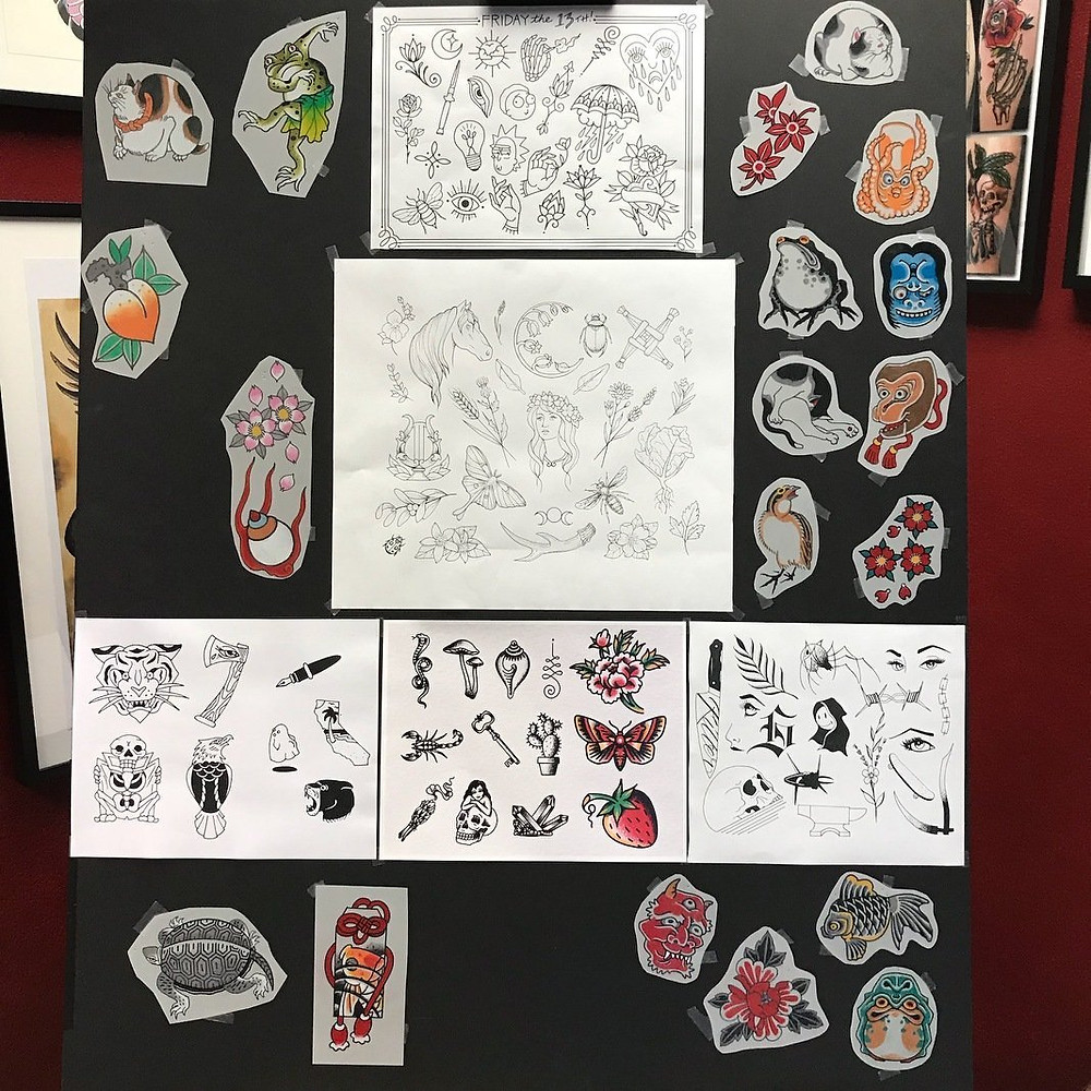 2018 in Long Beach saw lots of tattoo flash at Paper Crane!