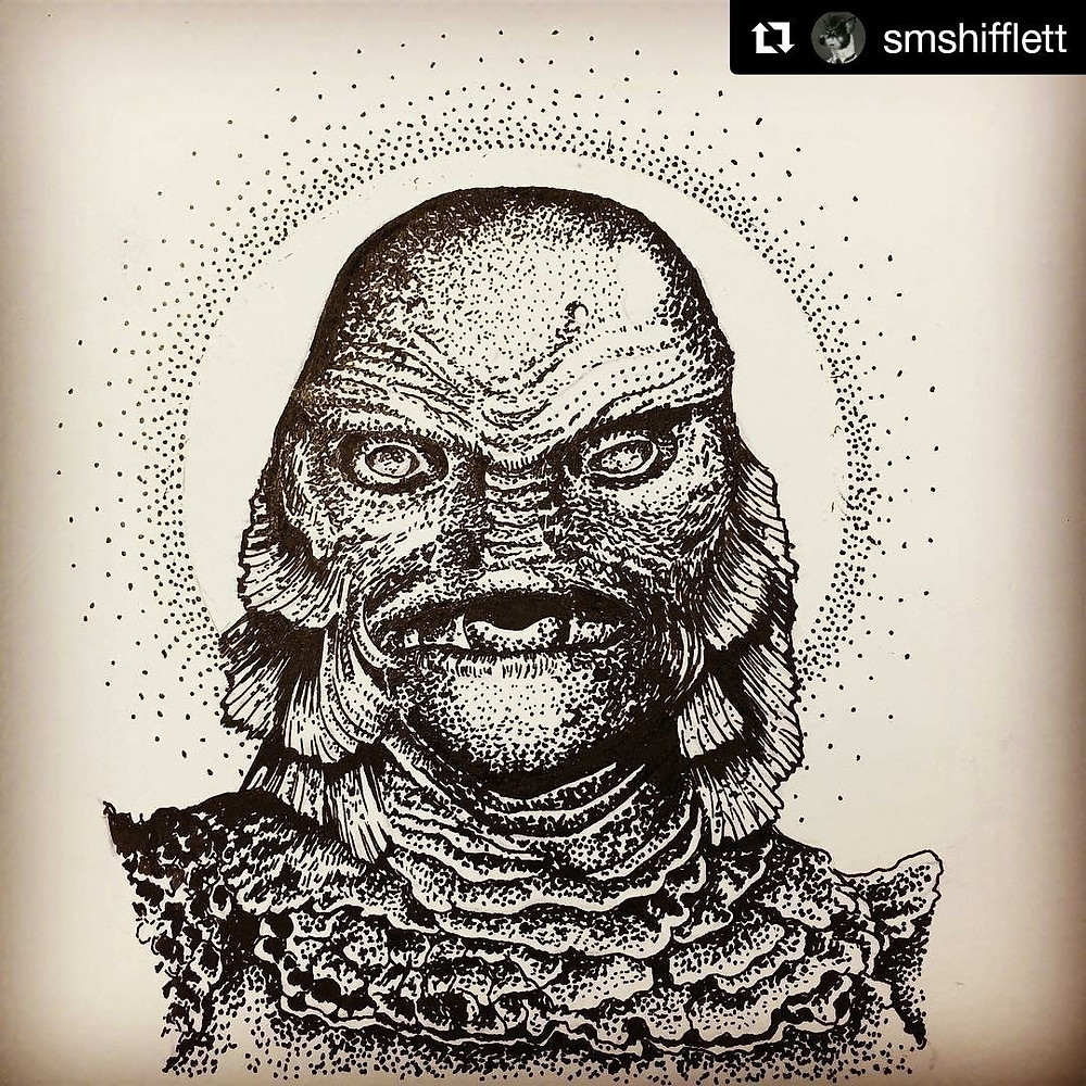Creature from the Black Lagoon tattoo design from Suzanne Shifflett for Halloween
