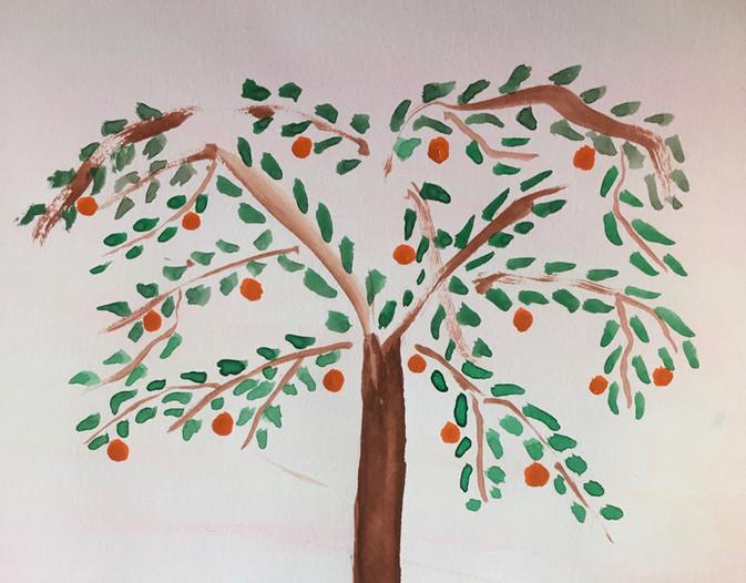 Orange Tree Painting by M