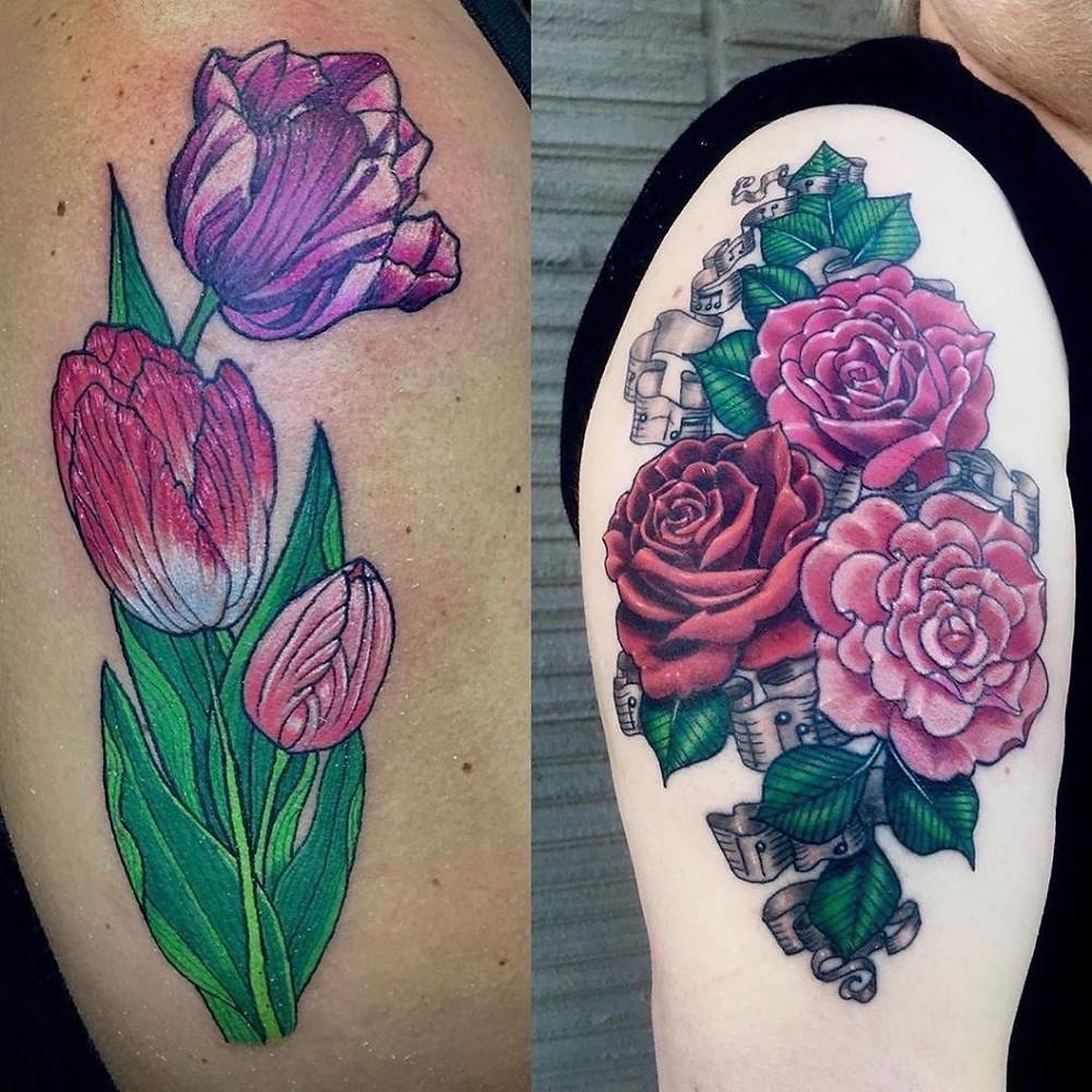 Floral tattoos by Suzanne Shifflett