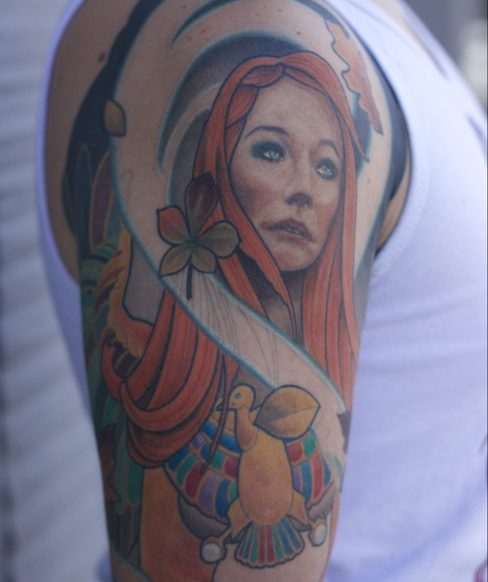 Tori Amos as the Sphinx sleeve by Mikey Vigilante at Paper Crane Studio in Long Beach
