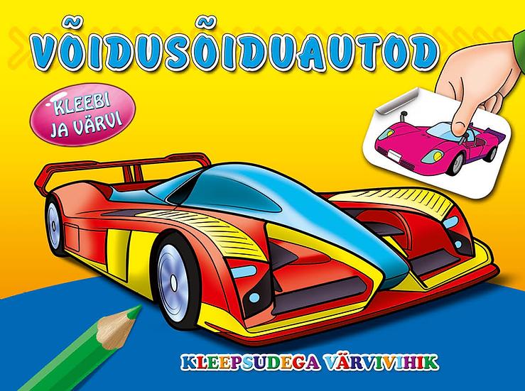 Võidusõiduautod. Kleebi ja värvi