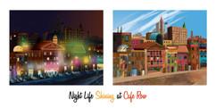 """Night Life Shining at Cafe Row Board"""