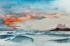 Dunes contre le montagne croissant