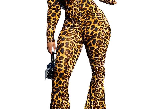 Sexy Leopard Long Sleeve Wide Leg Jumpsuit