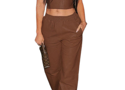 Trendy Sleeveless Straight Pants 2 Piece Sets