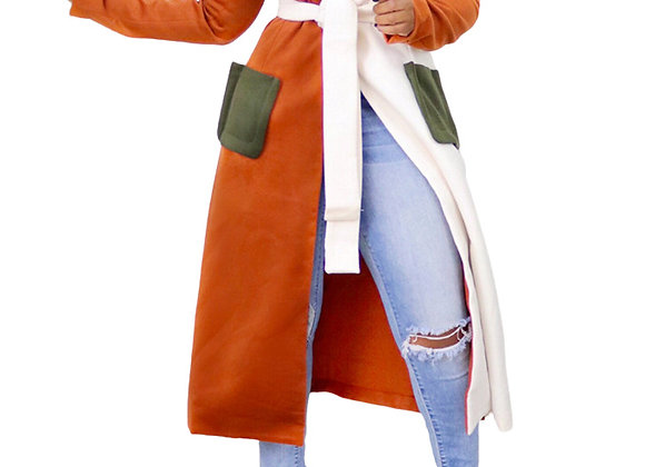 Euro Patchwork Color Block Belted Trench Coat