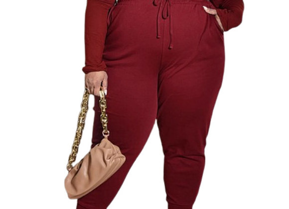 Plus Size Solid Long Sleeve 2 Piece Outfits