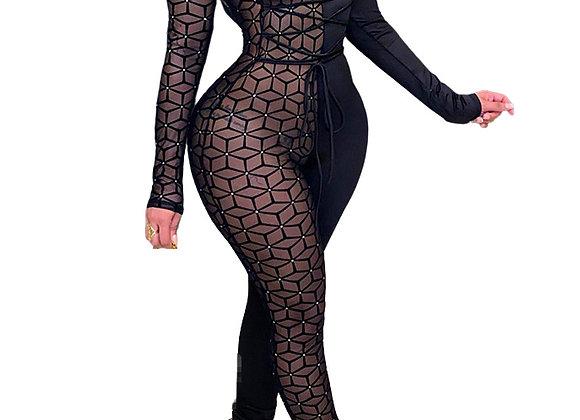 Gauze Patchwork Black Long Sleeve Jumpsuit